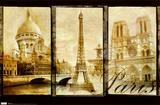 Paris (Triptych, Sacre Couer, Eiffel Tower, Notre Dame) Art Poster Print Obrazy