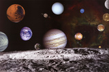 New Solar System Planets Jupiter Moons Rosette Nebula Space Poster Posters
