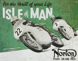 Grand Prix Norton Manx Isla de man Motorcycle Racing Carrera de Moto Cartel de chapa
