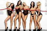Sexy Girls in Black Lingerie and Heels, Red Ribbon, Photo Print Poster Posters