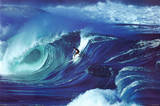 Big Wave Surfing Waimea Shorebreak Hawaii Art Print Poster Posters