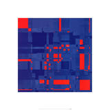 Boogie no. 3 Red On Blue Print by Michael Banks
