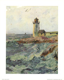 Lighthouse (At High Tide) Art Poster Print Posters