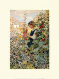 Girl Among Hollyhocks Poster von Alfred John Billinghurst