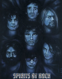 Spirits of Rock (Jim Morrison Jerry Garcia Kurt Cobain Joey Ramone Keith Moon Hutchence) Poster Poster