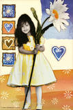 Girl with Huge Sunflower Art Print Poster Posters