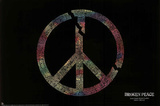 Broken Peace Sign Major World Conflicts Art Print Poster Posters