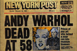 Andy Warhol Dead NY Post headline Postcard pop art Posters