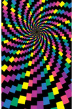 Electric Rainbow (Spiral) Flocked Blacklight Poster Print Posters