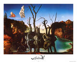 Salvador Dali Swans Reflecting Elephants White Border Art Print Poster Photo