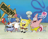 SpongeBob SquarePants Cast on Ocean Floor TV Poster Print Prints
