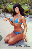 Bettie Page on Beach Pin-Up Postcard Print Print