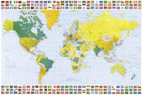 Map of the World (With Flags) Art Poster Print Posters