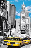New York City (Taxis in Times Square) Art Poster Print Posters