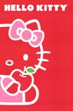 Hello Kitty (Red Apple, Red Background) Art Poster Print Print
