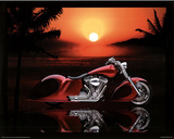 Full Fender Custom Motorcycle Art Print Poster Poster