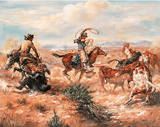 Cowboys (Wild Roping) Art Poster Print Posters