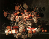 Grapes Fruit and White Wine  2 Art Print Poster Poster