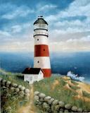 Striped Lighthouse Ocean Art Print POSTER motivational Posters