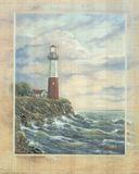 Standing Tall I Lighthouse with ocean ART PRINT poster Billeder