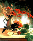 Vase Flowers and Fruit (Still Life) Art Print Poster Prints
