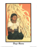 Diego Rivera (Woman With Corn) Art Print Poster Prints