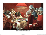 C.M. Coolidge Pinched with Four Aces Dogs Playing Poker CM Art Print Poster Prints