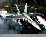 FA-18A Hornet over Coastline Art Print POSTER military Poster