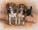Dan McManis Two Beagle Pups Art Print Poster Posters