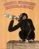 Monkey Drinking Liquor Vintage Ad Art Print Poster Posters