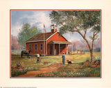 Old Red Schoolhouse Art Print Poster Prints