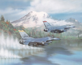 F-16s (Over Water) Art Poster Print Prints