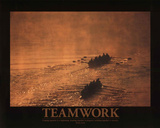 Teamwork (Rowers) Art Poster Print Photo