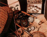 Fly Fishing Rod Reel and Lures collage 2 Art Print POSTER Poster