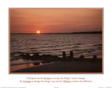 Serenity Prayer Ocean Beach Sunset Art Print Poster Poster