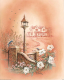 Vintage Lamp Post Bluebirds roses Art Print Poster Prints