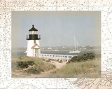 Lighthouse (Over Map 1) Art Poster Print Posters