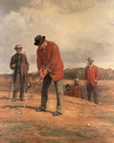 Boys Playing Golf on Hill (Painting) Sport Art Print Poster Affiches
