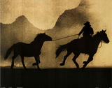 Cowboy and Horse Silhouette Art Print Poster Photo