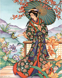 Asian Lady with Parasol Art Print Poster Photo