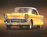 1957 Chevy Yellow Art Poster Print Prints
