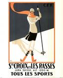Ste. Croix Les Rasses (Skier) Art Poster Print Prints