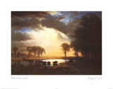 Albert Bierstadt (Buffalo Trail) Art Print Poster Prints