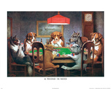 C.M. Coolidge A Friend in Need Dogs Playing Poker Art Print Poster Posters