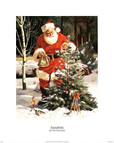 Santa Claus Tree in Snow Art Print Poster Poster