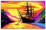 Sunset Bay Ship Flocked Blacklight Poster Art Print - Poster