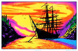 Sunset Bay Ship Flocked Blacklight Poster Art Print Photo