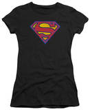 Juniors: Superman - SM Neon Distress Logo T-shirts