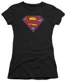 Juniors: Superman - SM Neon Distress Logo T-shirts