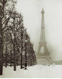 Paris In The Snow (Eiffel Tower) Art Poster Print Láminas